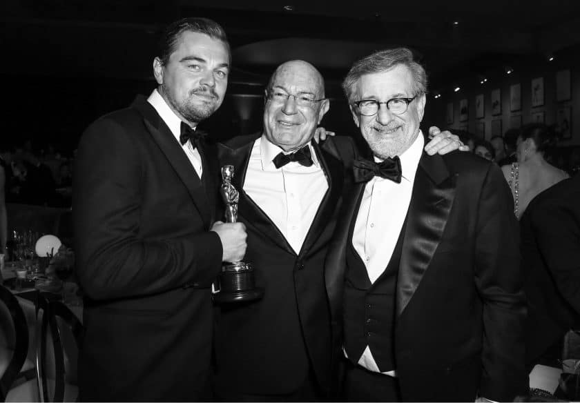Photo by Chelsea Lauren/REX/Shutterstock (5599382dw) Leonardo DiCaprio, Arnon Milchan and Steven Spielberg 88th Annual Academy Awards, Governor's Ball, Inside, Los Angeles, America - 28 Feb 2016