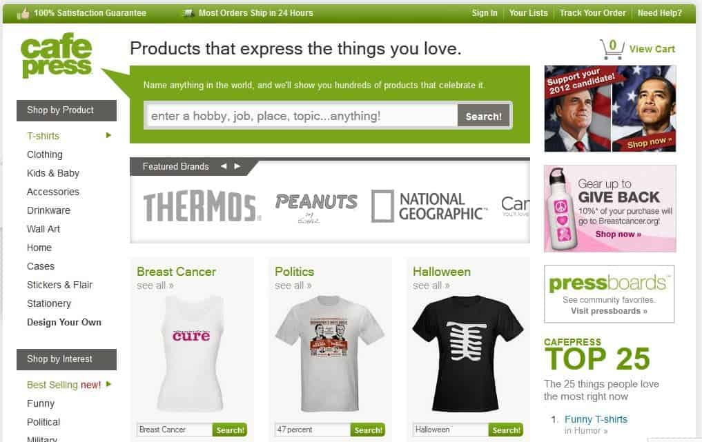 cafepress is a photo sharing site that creats photographers merchandise