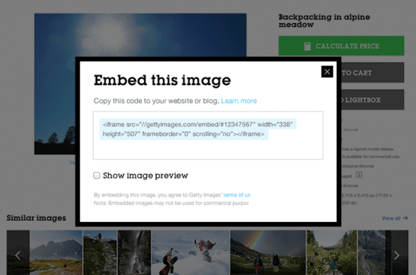 Getty offers free embedding of images