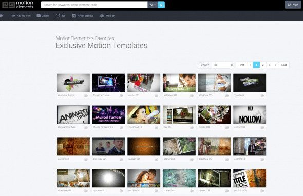 Favorites in the Motion Template section by MotionElements