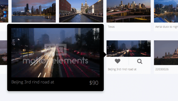 MotionElements now allows finding visually similar videos with the loupe icon