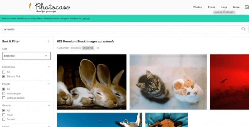 screenshot search result animals on Photocase