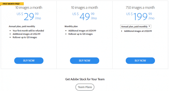 Adobe Stock pricing