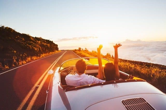 Adobe Stock Most Downloaded Couple Driving Sunset Convertible
