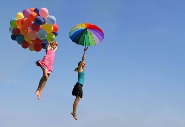 Freedom Fun Women Flying Balloons Umbrella