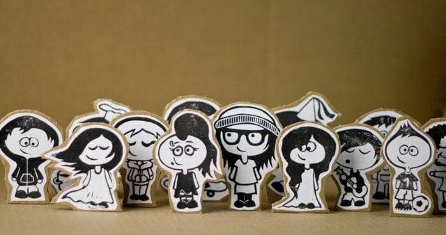 Paperboard Cutouts Happy People Cartoon
