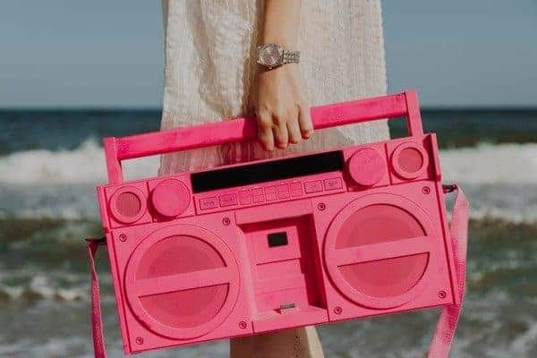 Retro Pink Portable Stereo Cassete Player Beach