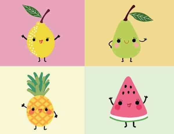 Fruits Kawaii Illustration