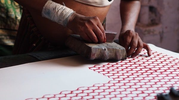 Indian Fabric Hand Printing