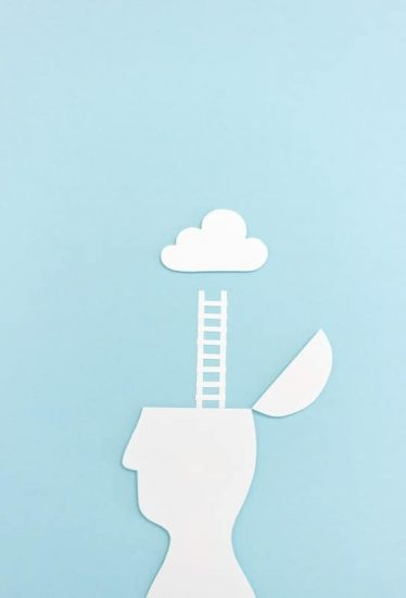 Man Silhouette Open Head Ladder Cloud