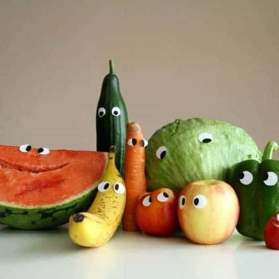 fruit vegetables eyes portrait
