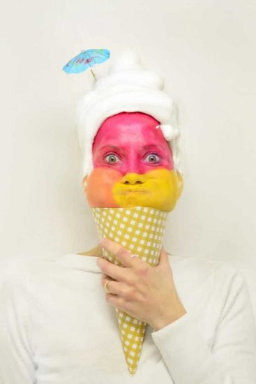 human being dressed like ice cream