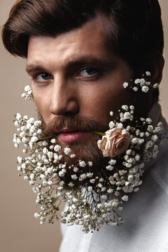 Man Beard Flowers