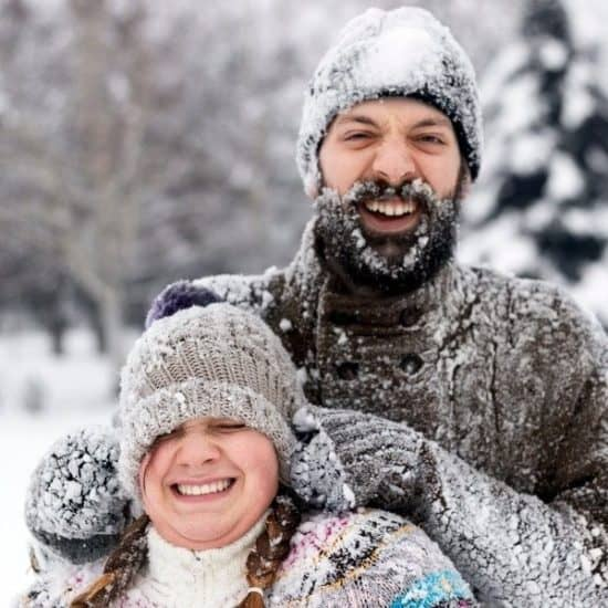 Couple Winter Snow Fight Laugh Hipster Fun
