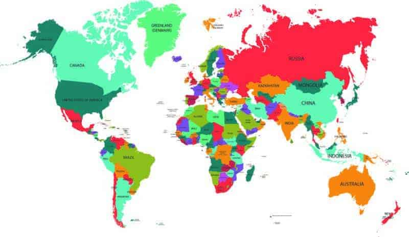 World Map in colours