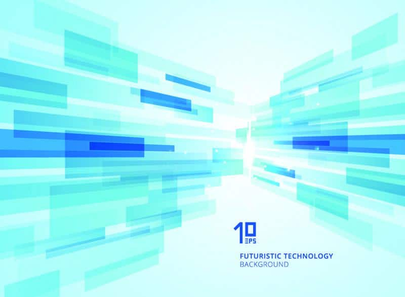 Abstract perspective futuristic technology geometric with light burst blue background.