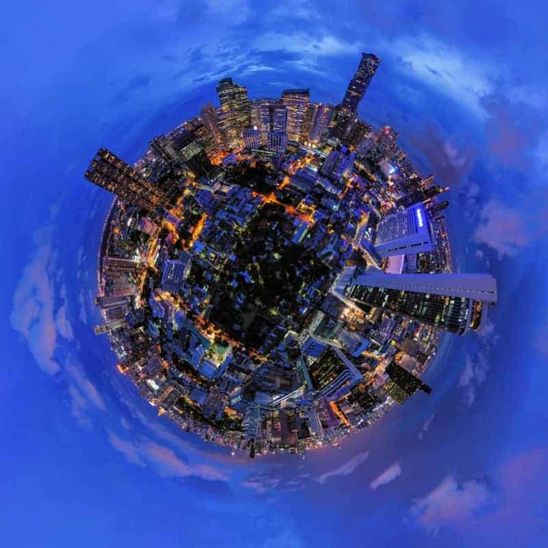 360 degrees view of smart urban city