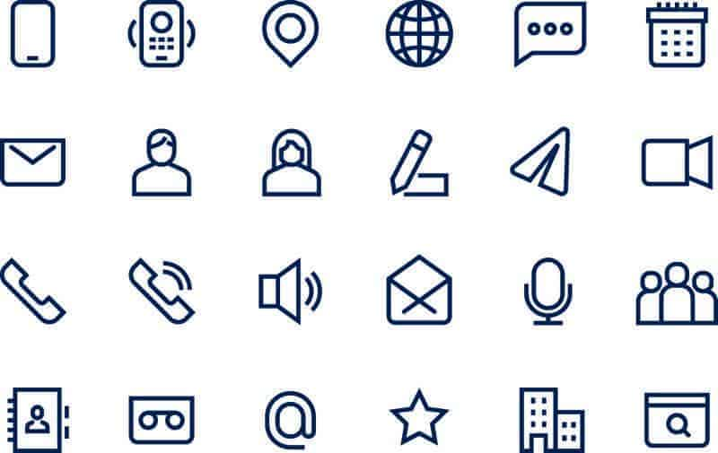 outlined icons communications