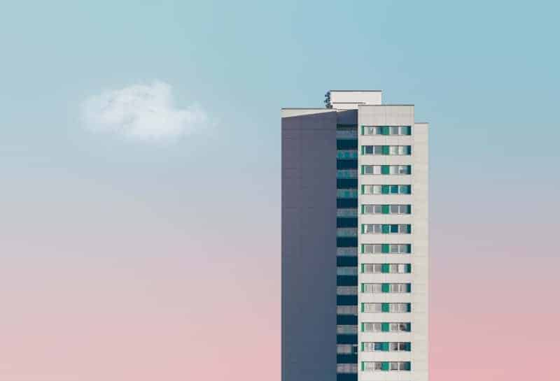 Skyscrapper against pastel sky