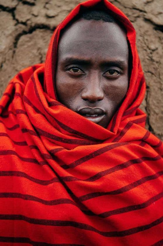 Portrait of African Tribe Man with Red Blanket