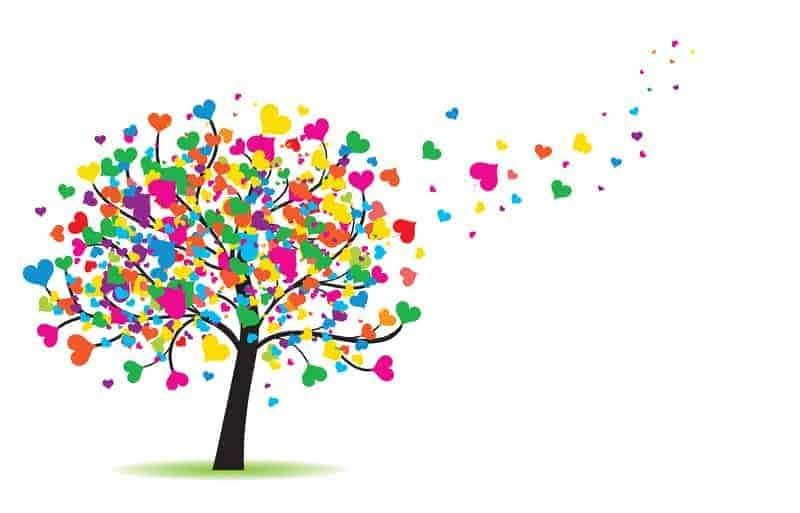 Tree made of colourful hearts