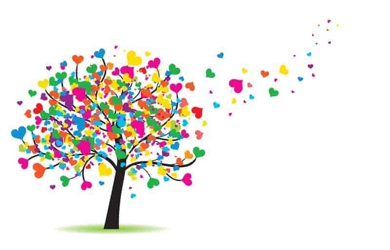 Strom z barevných srdcí