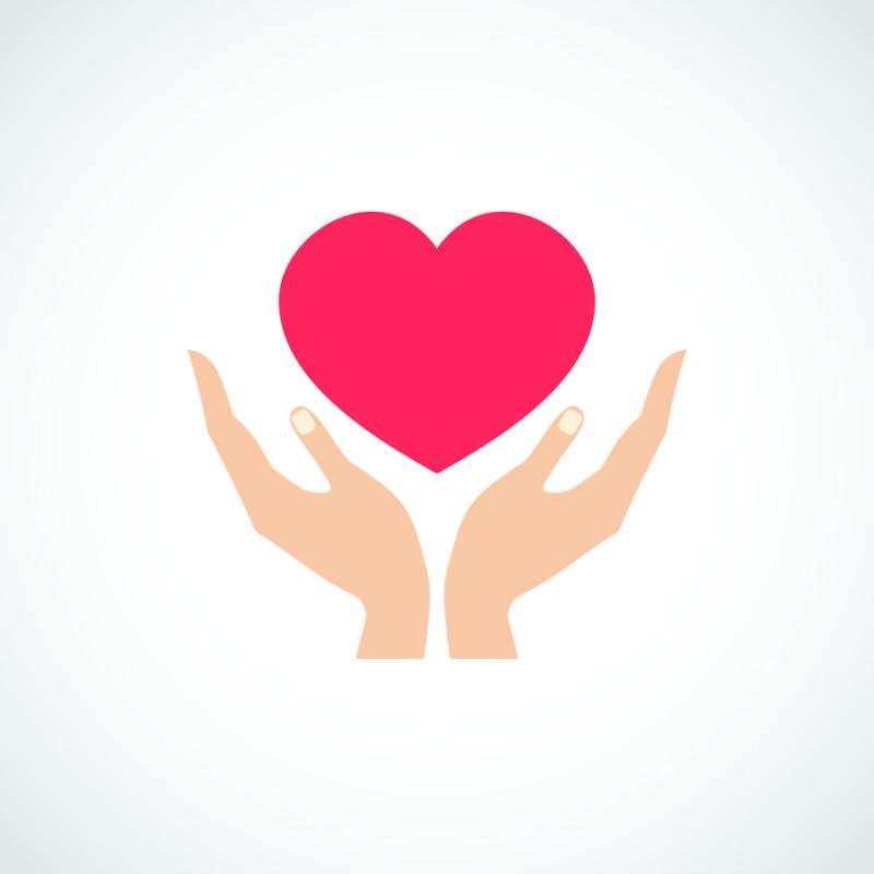 Hands holding heart illustration