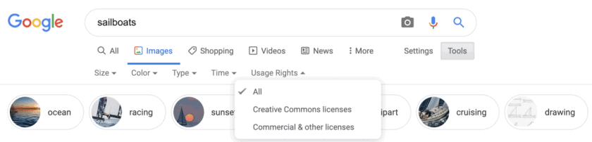 Usage Rights Screenshot Desktop > Google Images' License Filter Makes Finding and Buying Stock Photos Easier