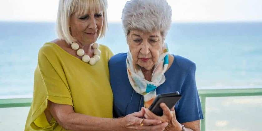 senior ladies using smartphone
