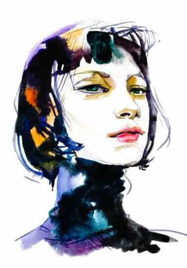 Young female brunette portrait hand drawn watercolor illustration > Exciting Photography Trends 2021